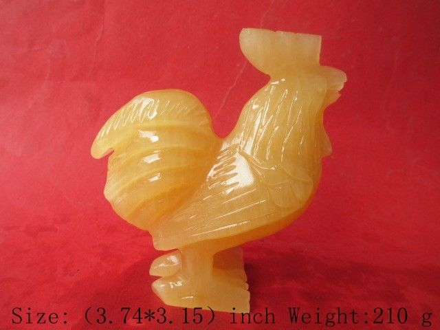 3.74 inch/100% of the natural topaz jade mascot <font><b>rooster</b></font> hand-carved symbol