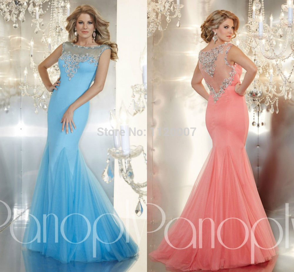 sexy mermaid prom dresses 2015 long elegant blue and coral