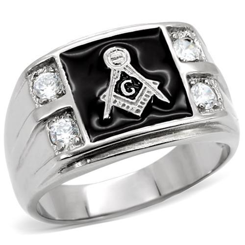 stainless steel masonic ring Made with AAA Quality Cubic Zirconia Europe and United states style Full size 8,9,10,11,12,13(China (Mainland))