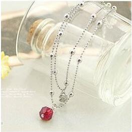 J001 2015 Hot new Shiny red crystal beads double temptation imitation diamond inlay swan anklets wholesale(China (Mainland))