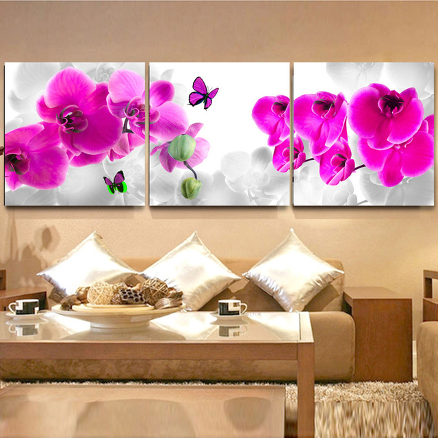 Flower Wall Art Canvas Or Print Kitchen Wall Art Bedroom: 3 Panel Modern Butterfly Flower Paintings Pictures