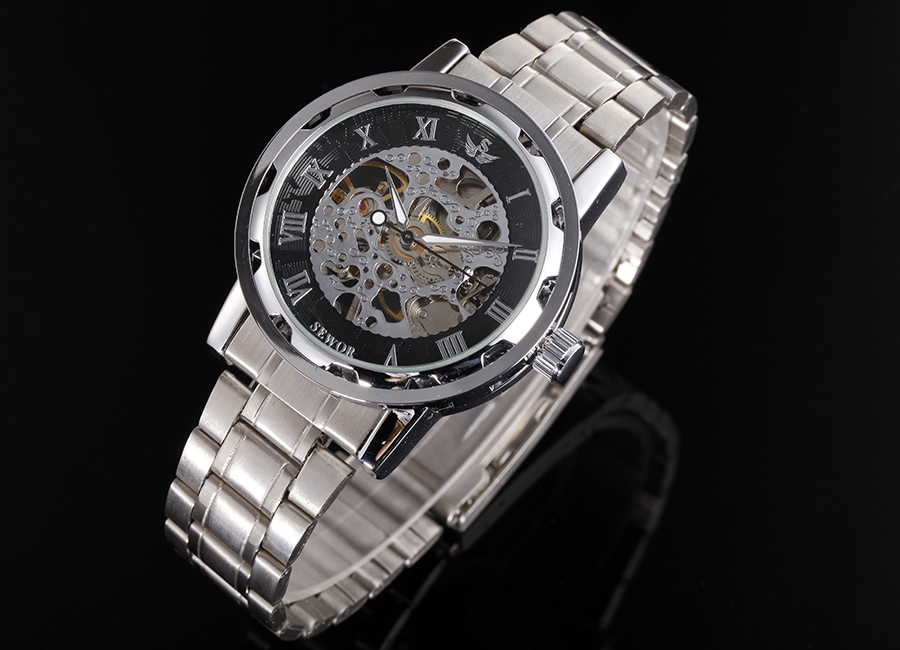 ELEGANT CLASSIC STEAMPUNK WATCH SILVER BAND BLACK DIAL MEN'S SKELETON MECHANICAL WRIST WATCH HAND WIND COOL WATCH FOR MEN(China (Mainland))