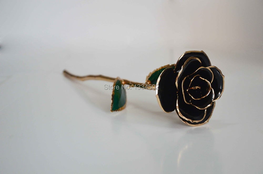 Valentine day Gift Birthday Gift Proposal Gift Gold Foil Real Black Roses With Gift Box and Handbag(China (Mainland))