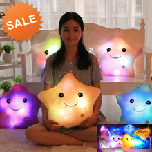 Promotion High Quality 5 Colors LED Luminous Star Pillow Cute LED Light Pillow Soft Plush Pillow Cushion Valentine's Day Gift(China (Mainland))