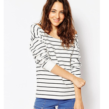 2015 Autumn Women Blouse Cotton Long Sleeve Black White Striped Casual Shirts Sexy Loose Tops vetement chemise femme (China (Mainland))