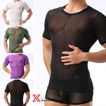 Male shirts sexy gauze short-sleeve t-shirt short-sleeve transparent gauze vest basic shirt t-shirt male(China (Mainland))