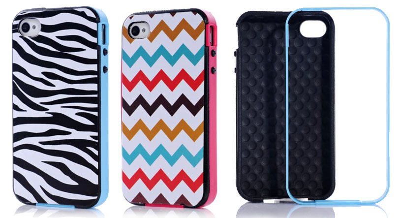 Colorful waves/black and white zebra stripes following + detachable candy border cell phone cover case for iphone 4 4s(China (Mainland))