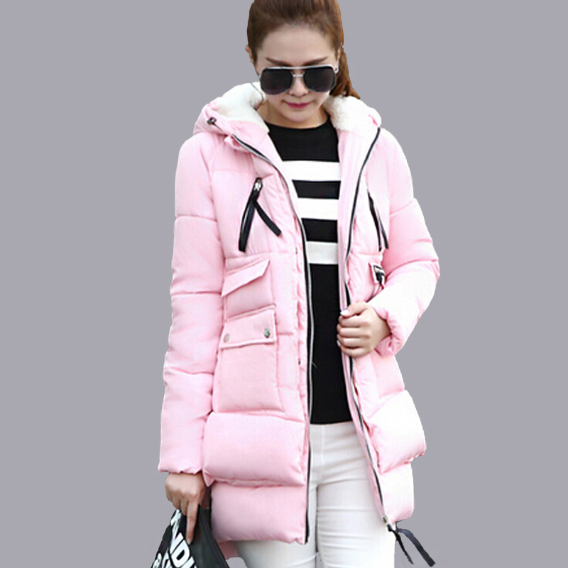 Women's Jackets Winter 2016 Fashion Ladies Down Cotton Jacket Women Parkas Black Thickening Snow Wear Coat Female Outerwear(China (Mainland))