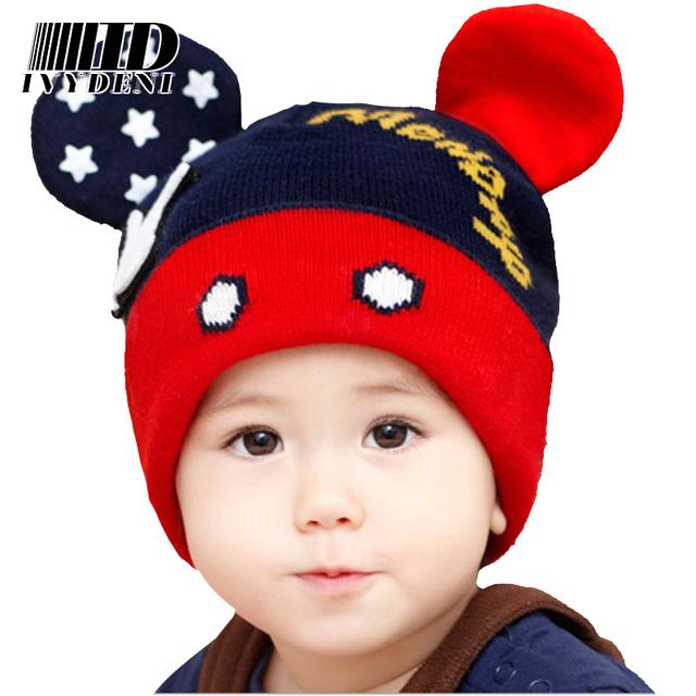 Мода Детская Шапочка Шляпы Зимняя Шапка Теплая Шерсть Симпатичные Малышей вязание крючком Микки Шляпа Уши Шапки Детские Hat Для Девочек/Мальчиков 0-4 лет