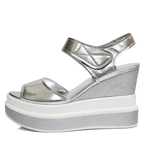 2015 new fashion full genuine leather shoes platform wedges summer women sandals soft leather thick bottom casual shoes