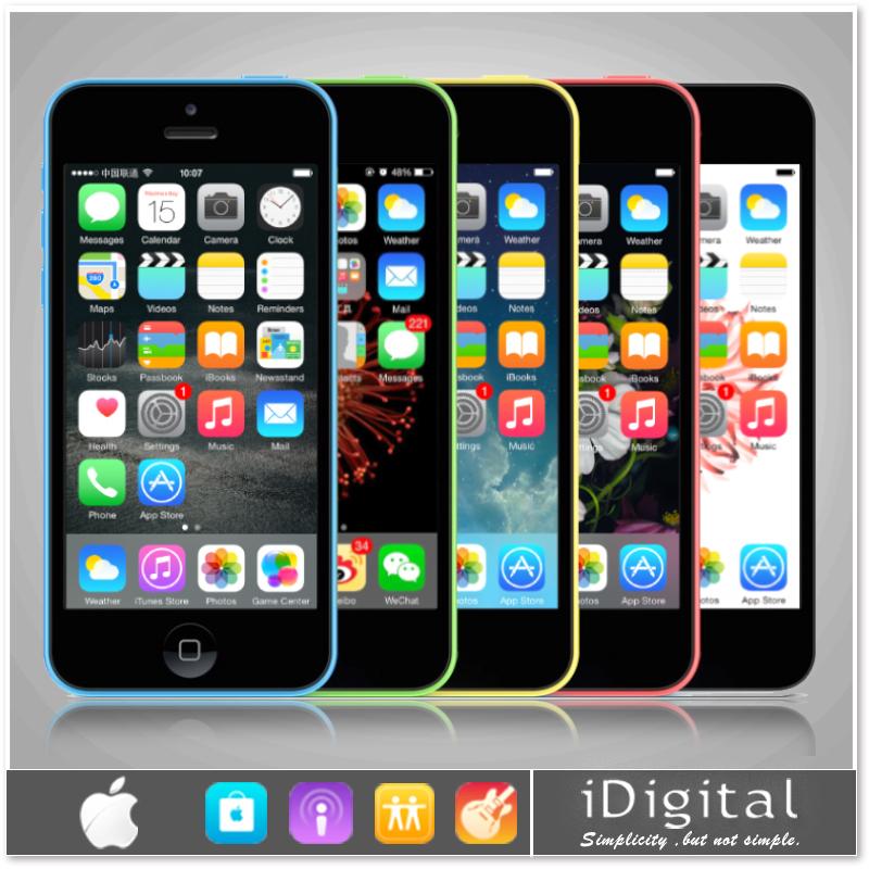 "Unlocked Original Apple iPhone 5C Mobile Phone 4.0"" IPS Dual Core IOS 8 GPS 8MP 1080P 16GB/32GB WIFI 3G Smart Phone Refurbished(China (Mainland))"