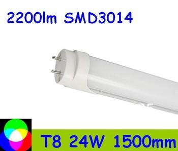 100pcs 24W 1500mm 5 feet T8 LED Tube Light  SMD3014 Warm White/Cool White  PC Cover Fedex Free shipping 100pcs