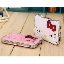 Very Cute Rhinestones Ultra-thin crystal Hello Kitty Face 12000mAh Power Bank Universal External Battery Portable Mobile Charger(China (Mainland))