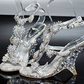 Evening Prom Party Dresses Lady Bridal Wedding Shoes Female Wedge Heel Sandals banquet princess diamond crystal