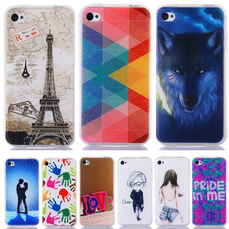 4S Fashion Personality Painted patterns Soft TPU Back cover For Apple iPhone 4 4S Cell Phone Protective Case for IPHONE 4S Capa(China (Mainland))