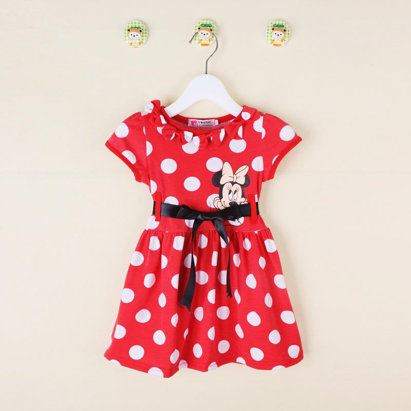 Free shopping 2016 New summer dress Minnie Mouse Dress girls clothes printing dot sleeveless dress dress girl fashion(China (Mainland))