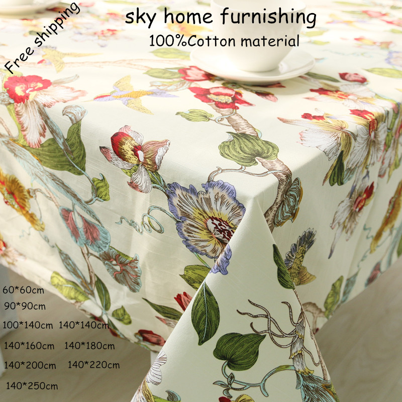 New cotton table cloth rectangular tablecloths with home wedding table Literary artisti 4 color Flowers and birds style(China (Mainland))