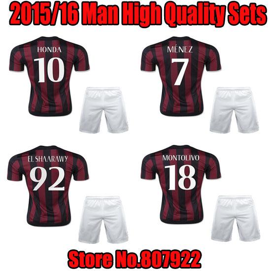 High Quality kits15/16!!! HONDA AC Milan Home Soccer Uniform,EL SHAARAWY AC Milan Soccer Shirt with Short+AC Milan Home Sets(China (Mainland))