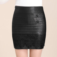 2016 New Fashion Women's Autumn Winter PU Leather Skirts Lace Skirt High Waist Package Hip Skirts Plus Size M-4XL
