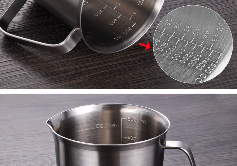 Thickening 304 stainless steel measuring cup 1000ml Milk tea cup, coffee, liquid measuring cup with graduated never rust H 130mm