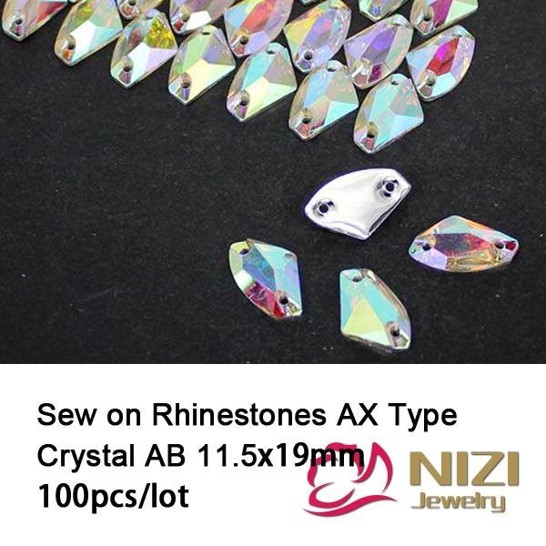 Sew On Rhinestones 11.5X19mm Resin AX Type Crystal AB Flatback Rhinestones Fashion Sewing Strass For Garment New Rhinestones(China (Mainland))