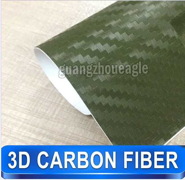 1.52*30 m German Duty Free New Product Air Release 3 D carbon fiber vinyl Military Green Free Shipping(China (Mainland))