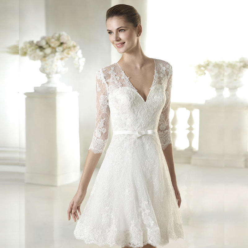 Lace New Simple White Ivory Lace Short Wedding Dresses