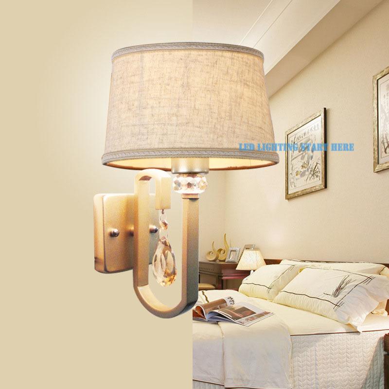 Фотография Modern Brief Crystal Fabric Shade Wall Lamp E27 Light Source Diameter 17.5cm Living Bedding RoomBalcony Light Free Shipping