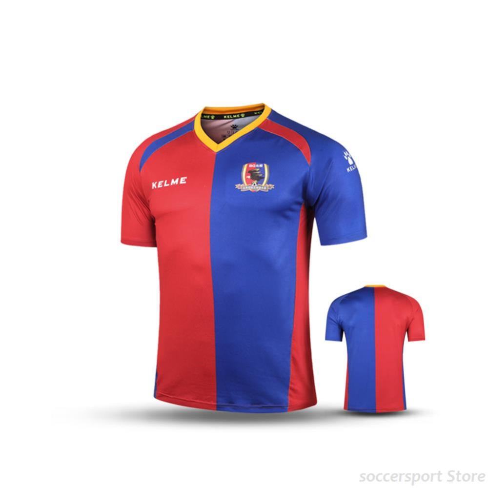 KELME Men Short Sleeve Fans Soccer Jersey Football T-Shirts Red Dark Blue K15Z270(China (Mainland))