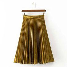 2016 Spring Autumn Latest New Women Fashion Golden A Line Skater Mid Calf Casual High Waist Pleated Skirt Long Skirt Jupe Tutu