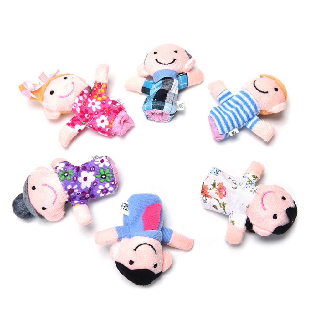 6Pcs/Set Family Finger Puppets Toys Baby Kids Plush Cloth Play Game Learn Story Toy Set Children Education Toys(China (Mainland))