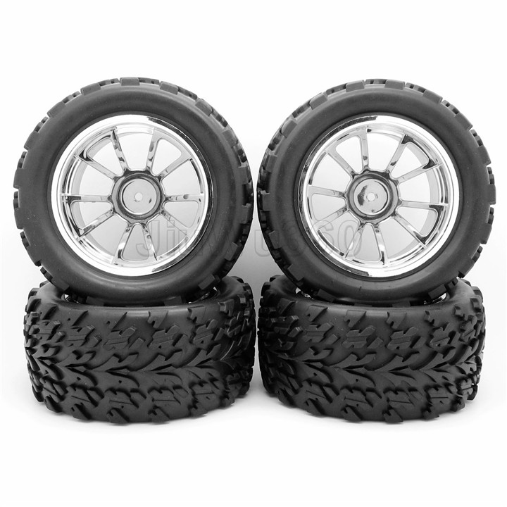 RC 1/10 RC Truck Off-Road Car Rubber Tires + 5 Spoke Wheel Rim Silver RC Car Parts(China (Mainland))