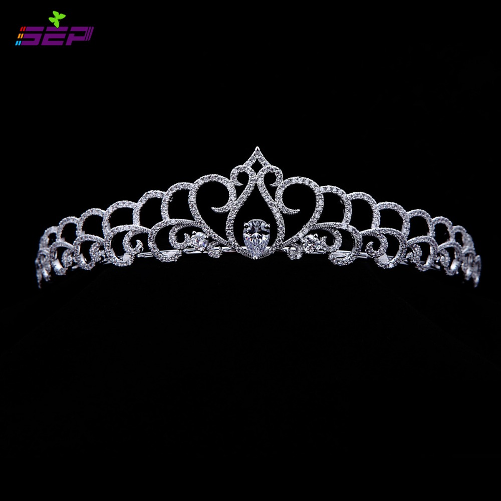 Bridal Wedding Tiara Clear Crown Hair Jewelry Micro Pave AAA CZ Birthday Party Head Piece Hair A TR15025(China (Mainland))