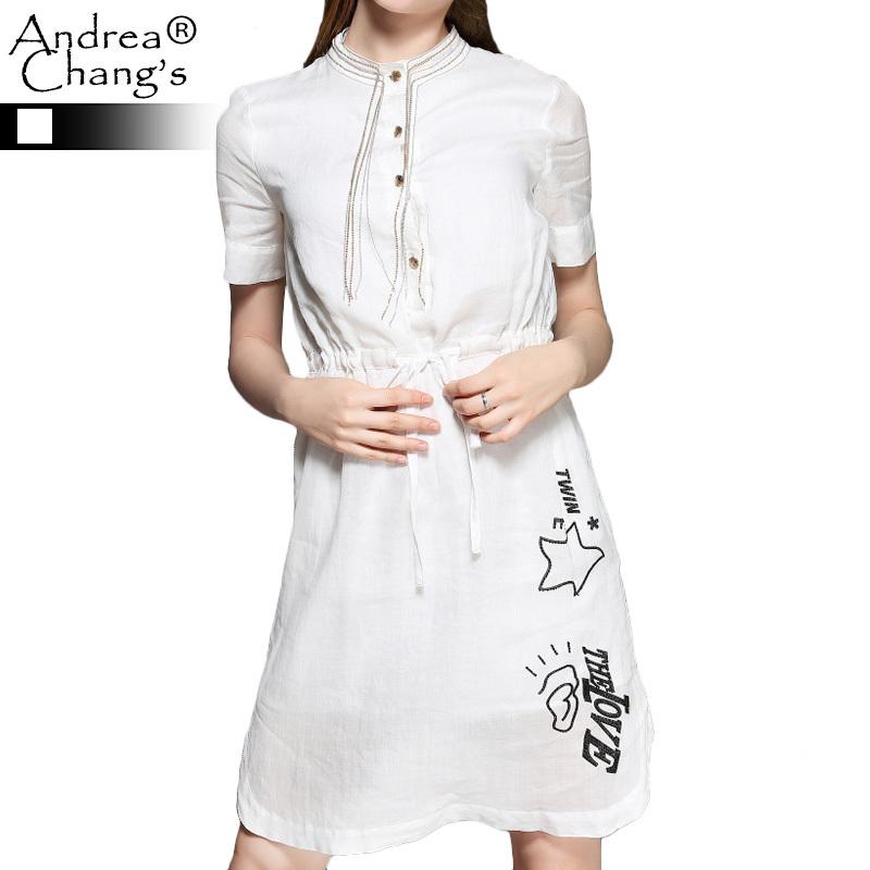2015 spring summer designer women's dresses white drawstring waist beaded black pattern golden beaded collar fashion brand dress(China (Mainland))