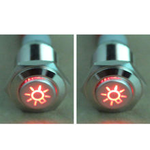 2PCS 16mm Red Car Headlights Symbol 12V LED Push Button Metal ON/OFF Switch(China (Mainland))
