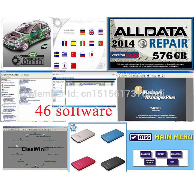 Description: we have more information for Auto repair software, PLZ contact with our sales if you have any needs!including 41 kinds software such as: ALLDATA,Mitchell,ELSA,ROVER,WIS,StarFinder,OPEL TIS,BMW TIS,OnDemand5 Transmission,VOLVO WDS,BMW WDS,BOSCH ESI,TachoS.