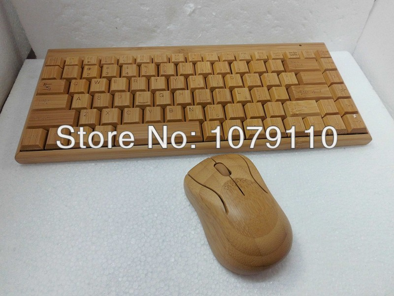 100% Natural Bamboo Wooden handmade Wood PC Multi-media Function wireless Keyboard and Mouse Combo, SKU 01501AC2