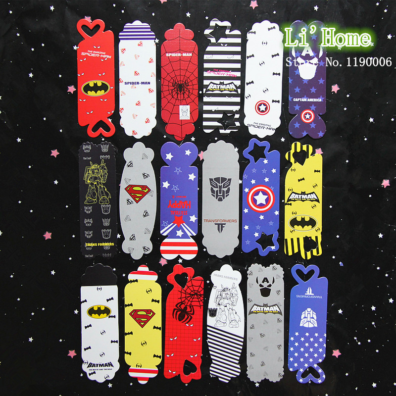 18/set cute Interesting paper avengers bookmark bookmarks books Captain America Spider-Man Superman Office & School - li'home store