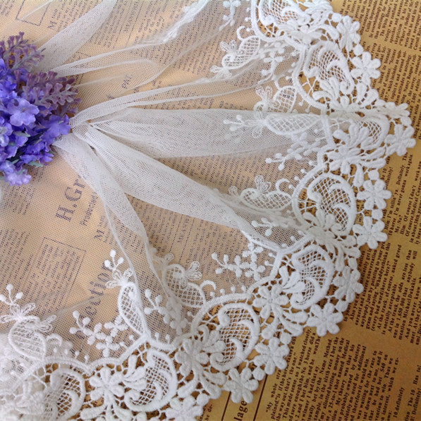 2015 New 15cm 7yards/lot Water Soluble Cotton Embroidered Lace Fabric DIY Lace Sewing Fabric Garment Accessories(China (Mainland))