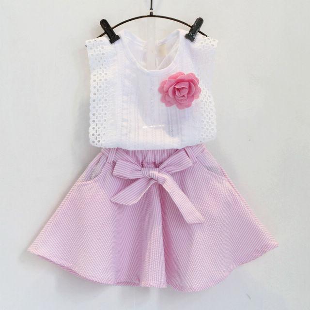 Children clothing manufacturers China korean children clothing girls summer sets baby girl set sleeveless t shirt+skirt AA063(China (Mainland))