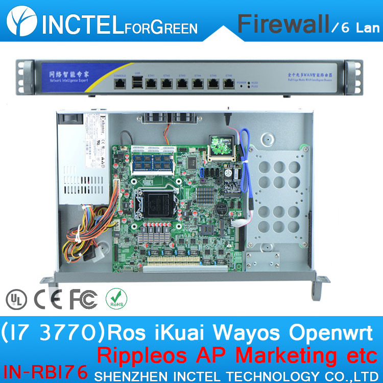 ROS 6 Gigabit flow control 1u firewall router with I7 3770 cpu 1000M 6 82574L 2 groups Bypass model number IN-RBI76(China (Mainland))