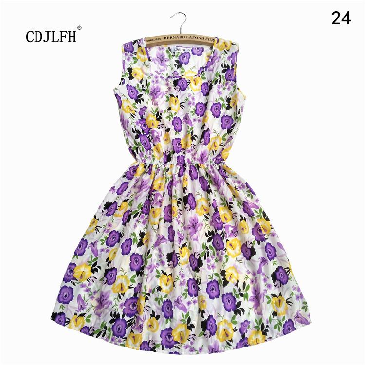 Brand 2016 Summer Women Casual Print Sleeveless Dress Chiffon stripe / floral print Elastic Waist Bohemian Beach Dresses - CDJLFH Online Store store