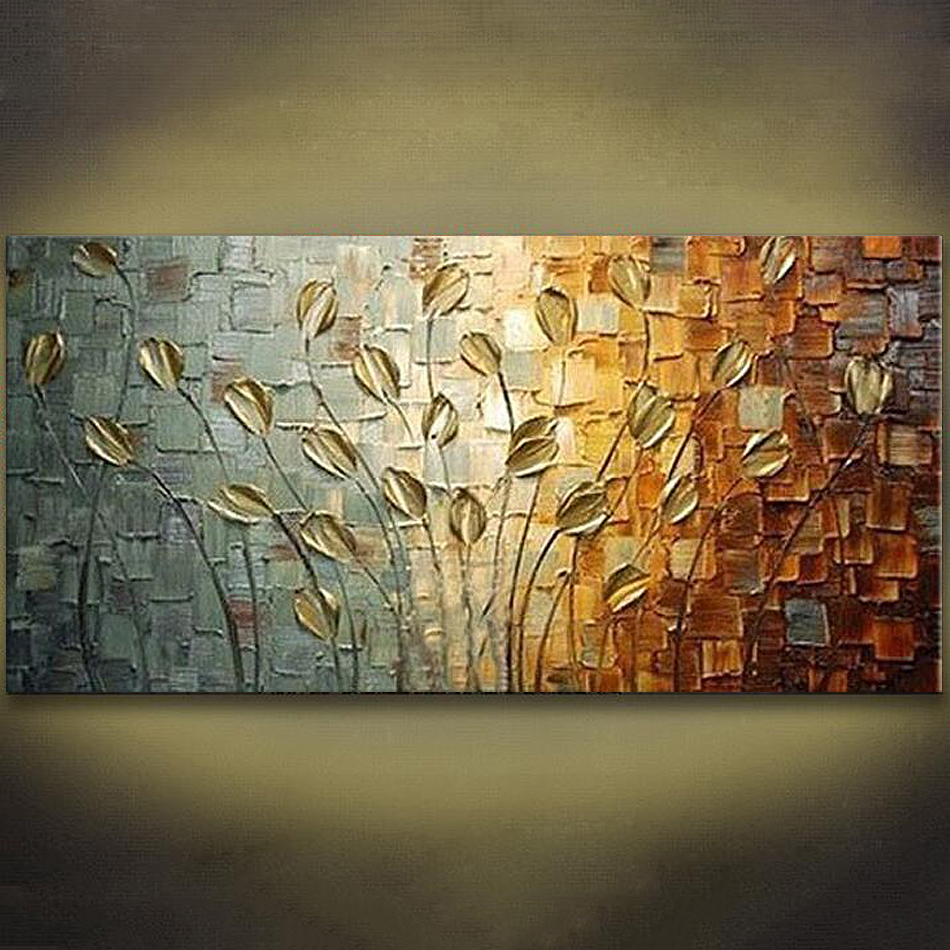 Unframed Handmade Texture Knife Flower Tree Abstract