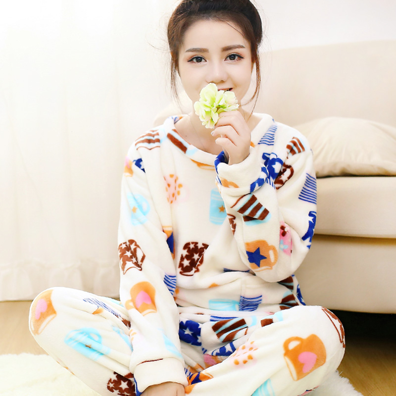 Winter sleepwear thickening coral fleece thermal women's flannel lounge casual long-sleeve 100% cotton set(China (Mainland))