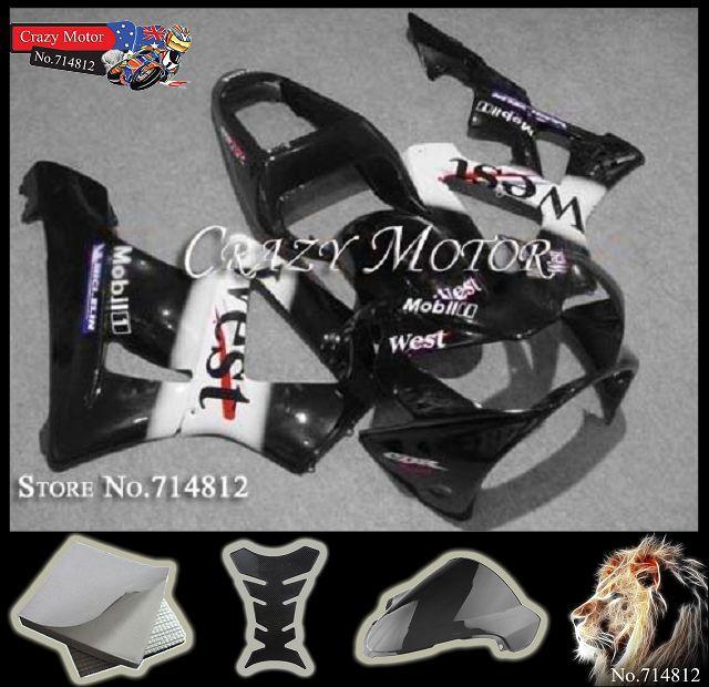 black white West HRC CBR929RR 2000 2001 CBR929 RR Fairings Body Kit Fairing Honda CBR900RR CBR900 929 - Crazy Motor store