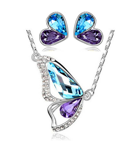 2014 new fashion Platinum Plated Austrian Crystal butterfly necklace earrings Jewelry Sets - DAFU JEWELRY store