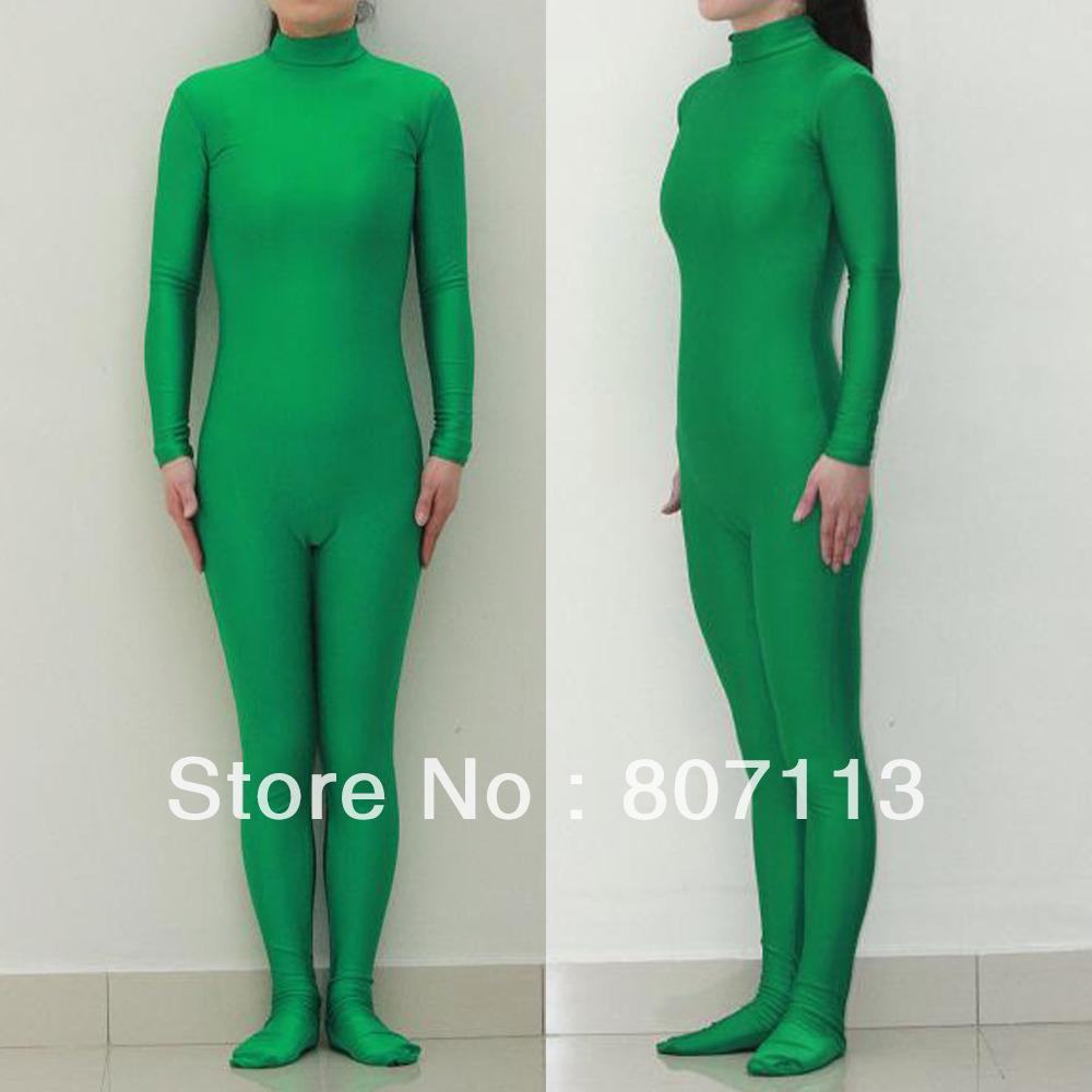- Kid Adult Lycra Spandex Zentai costume Green Bodysuit Dancewear Catsuit Unitard Hood & Hands Super Suits's store