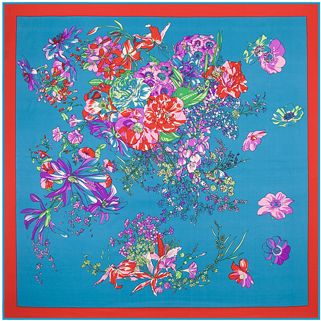 2015 Brand Twill Silk Scarf Women Classic National Wind The Potala Palace Tibet Painting And Flowers Pattern Silk Twill Scarf(China (Mainland))