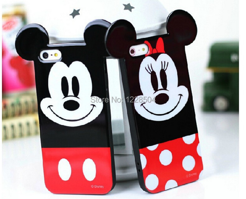 2015 2 types cartoon animals soft TPU case mickey mouse minnie phone cases Iphone6p 6 5 5S 4 4s - long yang way store