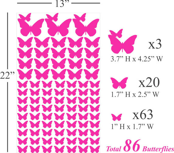 86 three different butterflies swarm bedroom living room wall stickers home decor PVC trade custom P711 - Cecilia Yip Store store